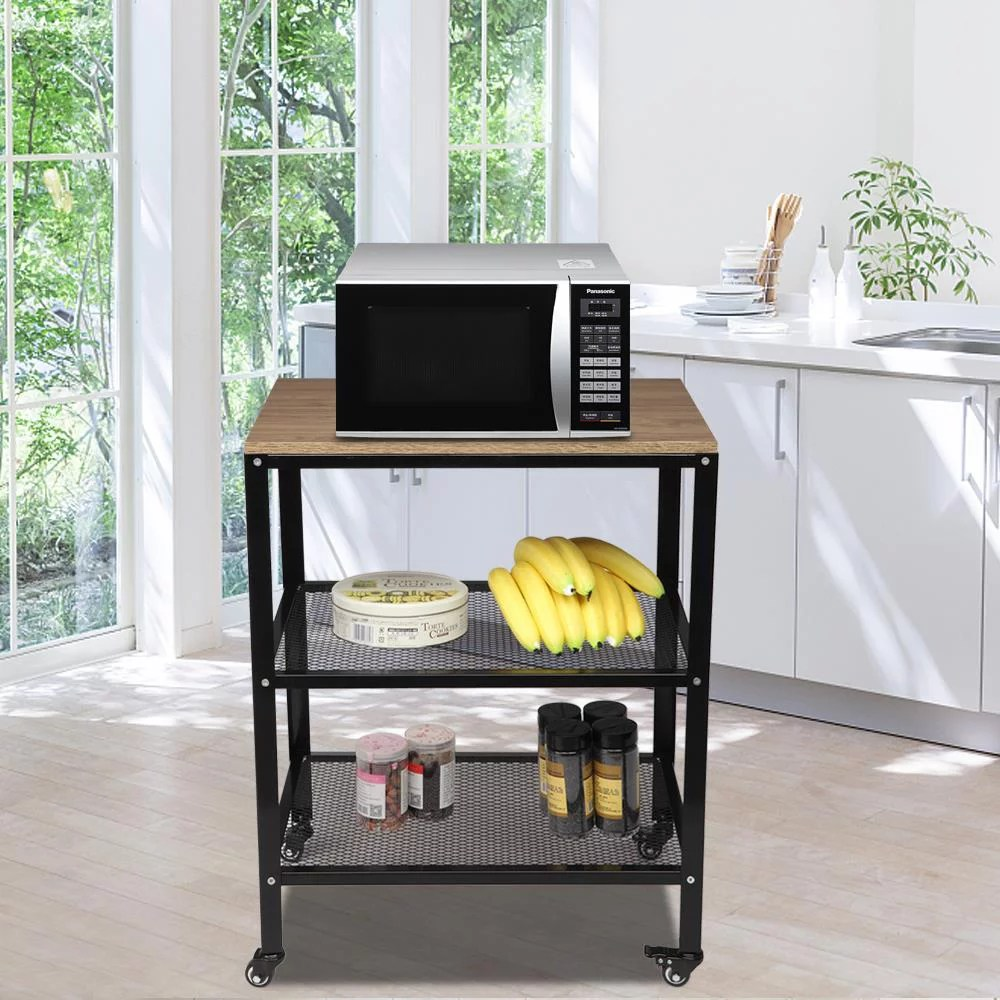 oshion microwave cart on wheels 3 tier rolling kitchen cart baker rack with adjustable storage shelves utility cart for living room