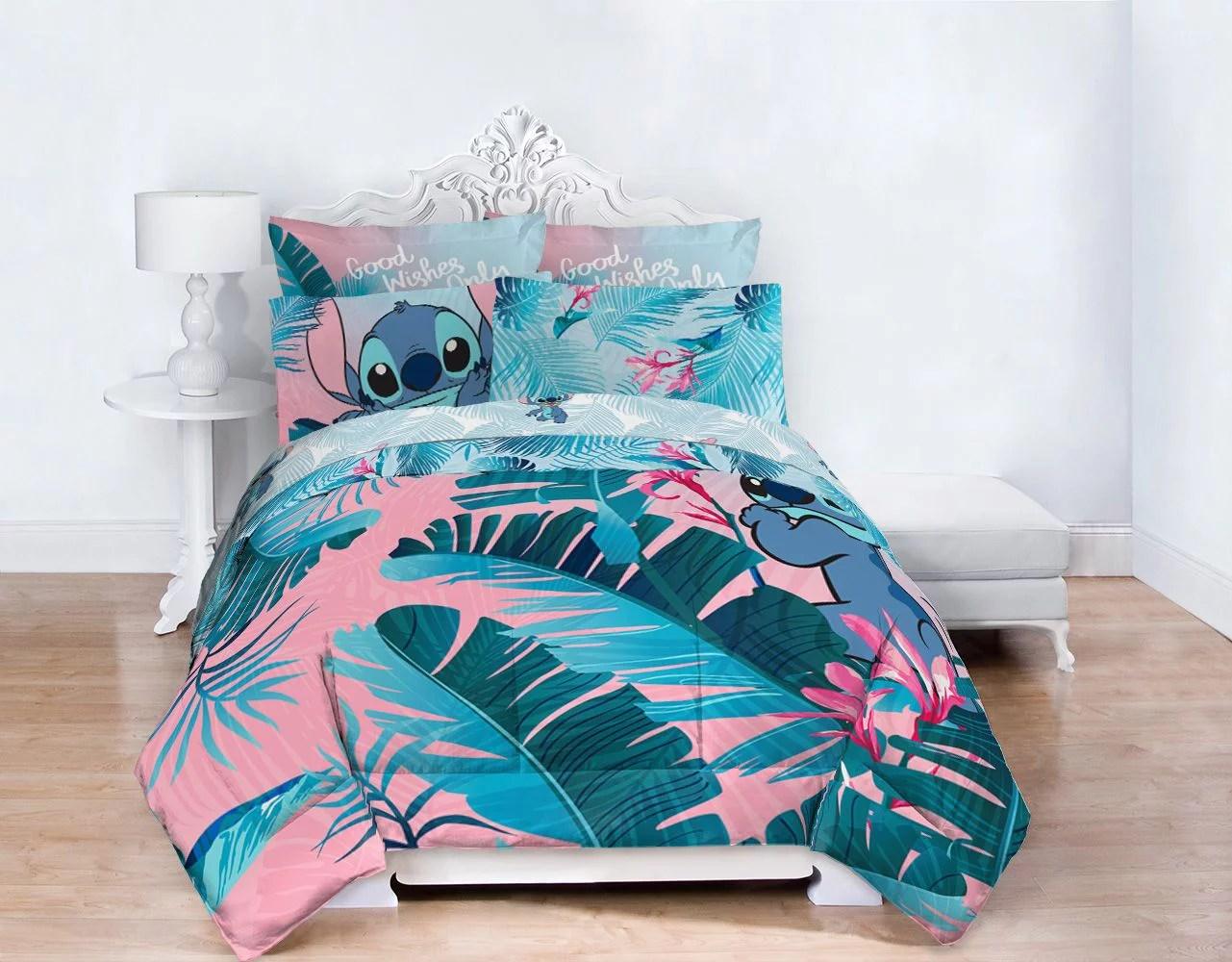 lilo stitch blue pink tropical flowers kids bed in a bag bedding set w reversible comforter walmart com