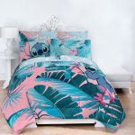 Lilo Stitch Blue Pink Tropical Flowers Kids Bed In A Bag Bedding Set W Reversible Comforter Walmart Com Walmart Com