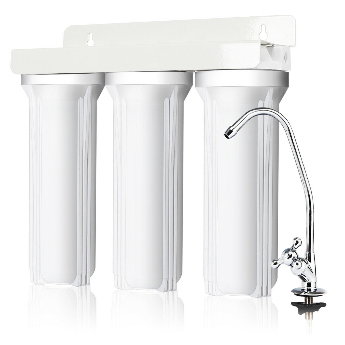 goplus 3 stage under sink water filter system water filtration with chromed faucet new