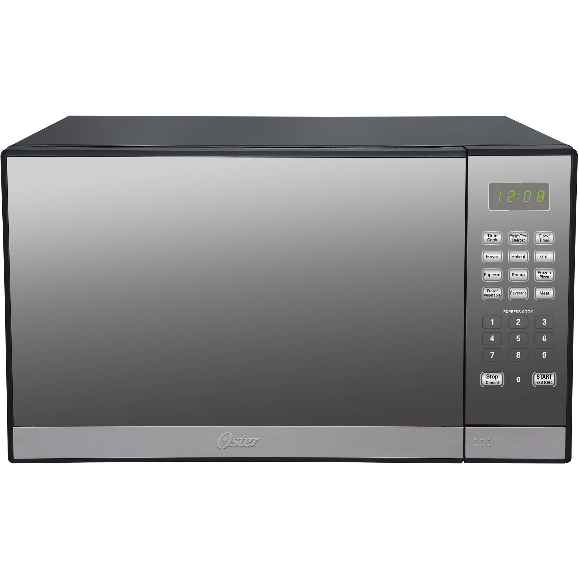 oster 1 3 cu ft stainless steel with mirror finish microwave oven with grill