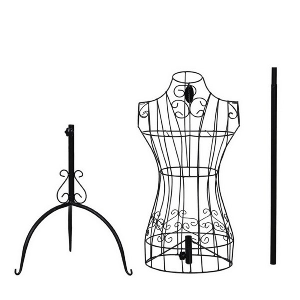 Black Metal Adjustable Height Wire Frame Dress Form