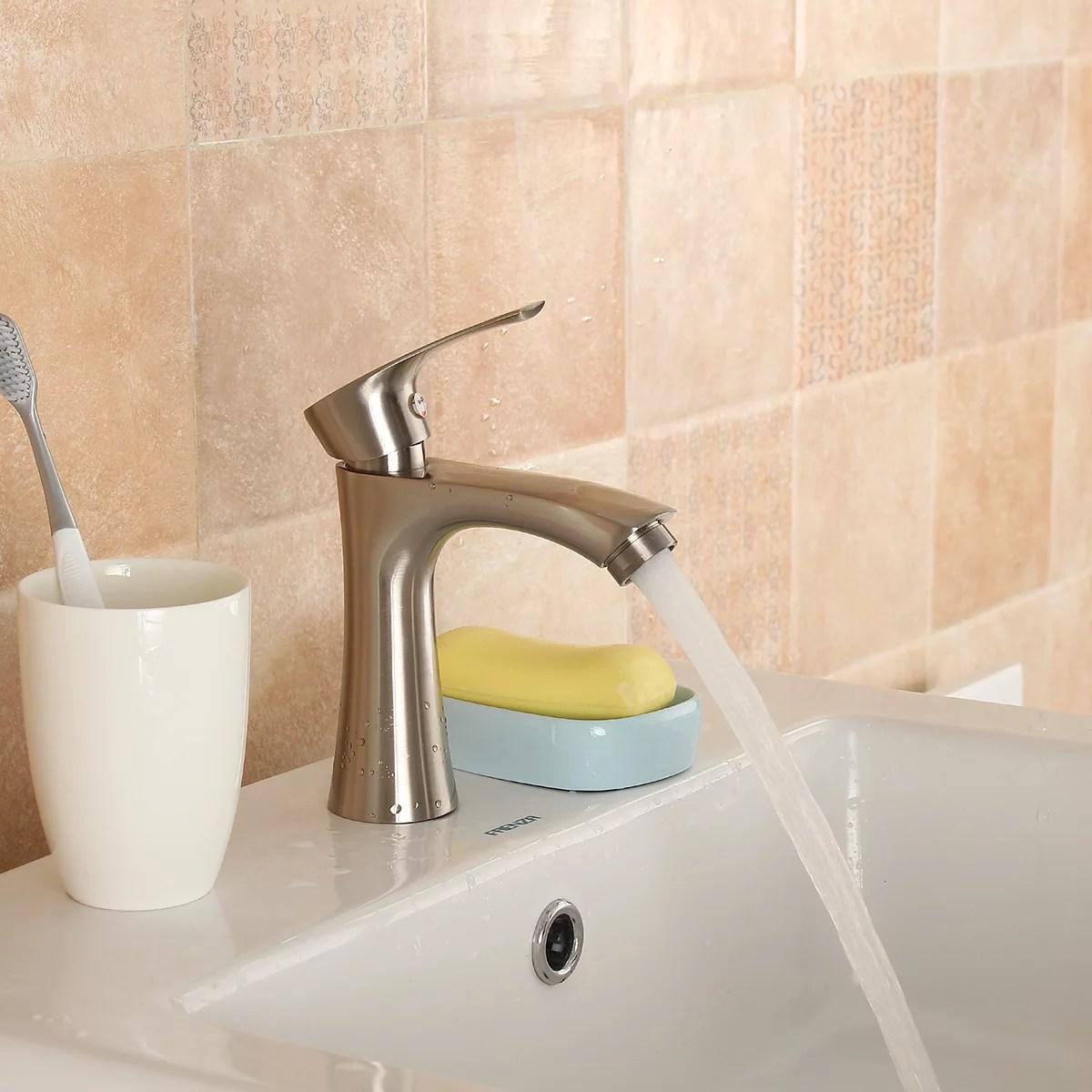 brushed nickel bathroom sink faucet tap