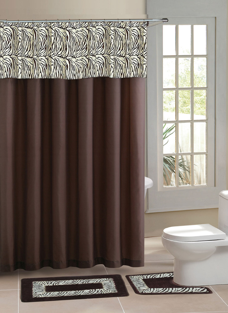home dynamix designer bath shower curtain and bath rug set db15z 500 zebra brown 15 piece bath set