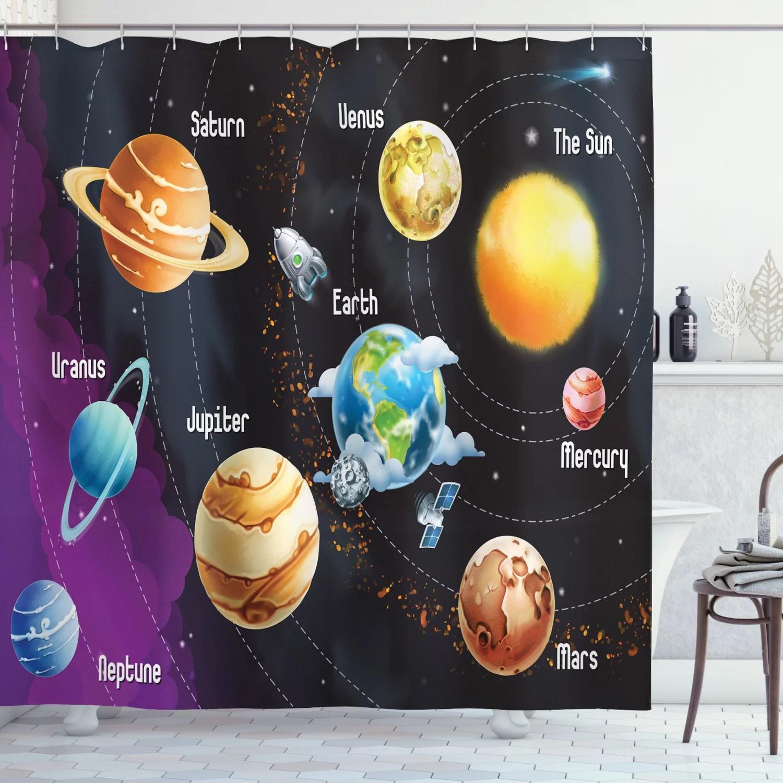 outer space decor shower curtain set solar system of planets milk way neptune venus mercury sphere horizontal illustration bathroom accessories 69w