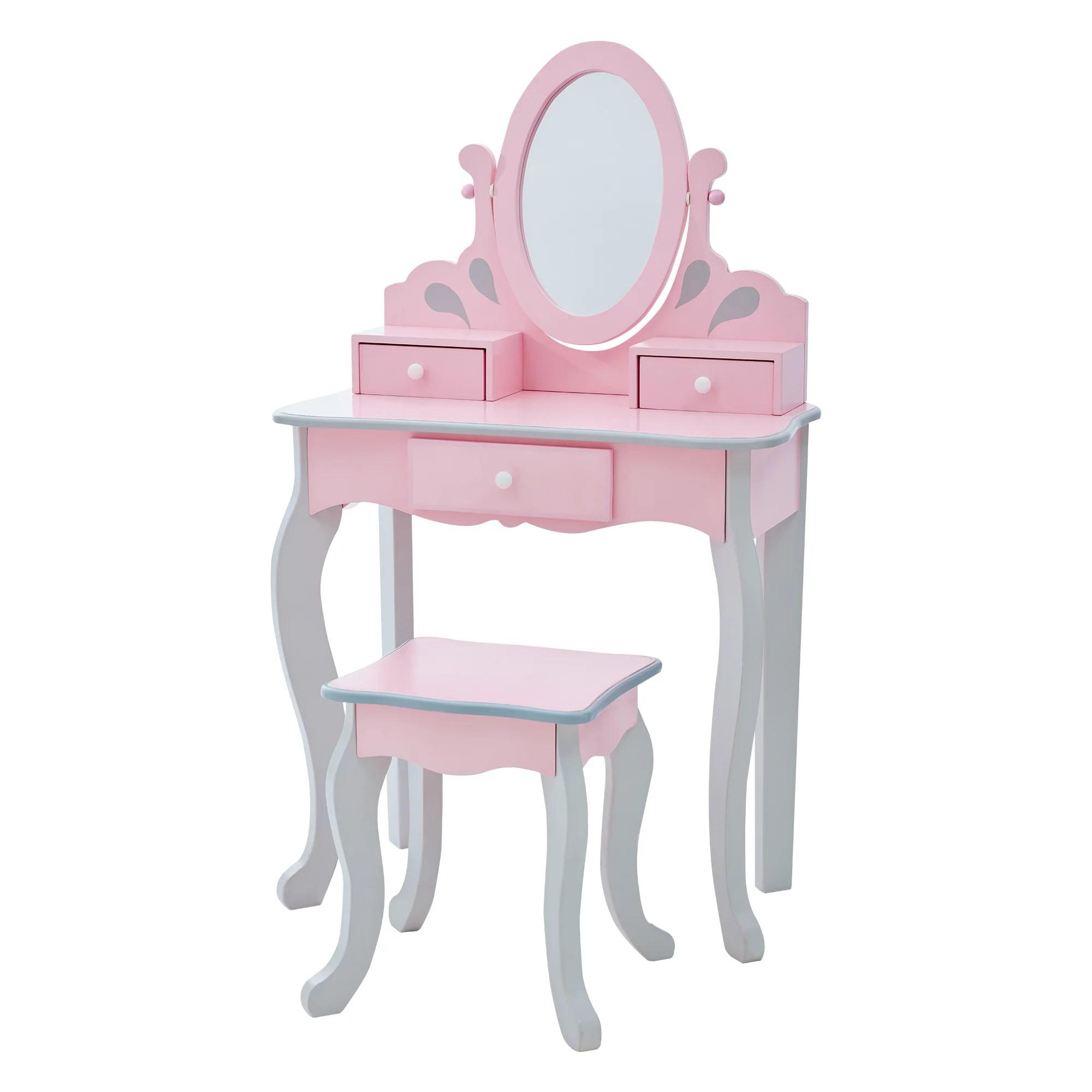 teamson kids little princess rapunzel play vanity set pink grey