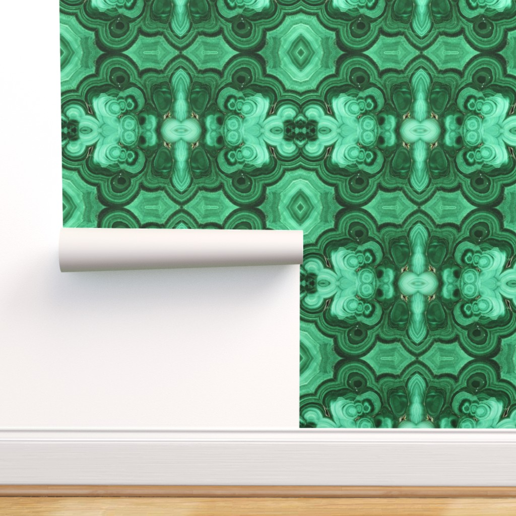 Peel And Stick Removable Wallpaper Mirrored Malachite Green Gemstone Agate Walmart Com Walmart Com