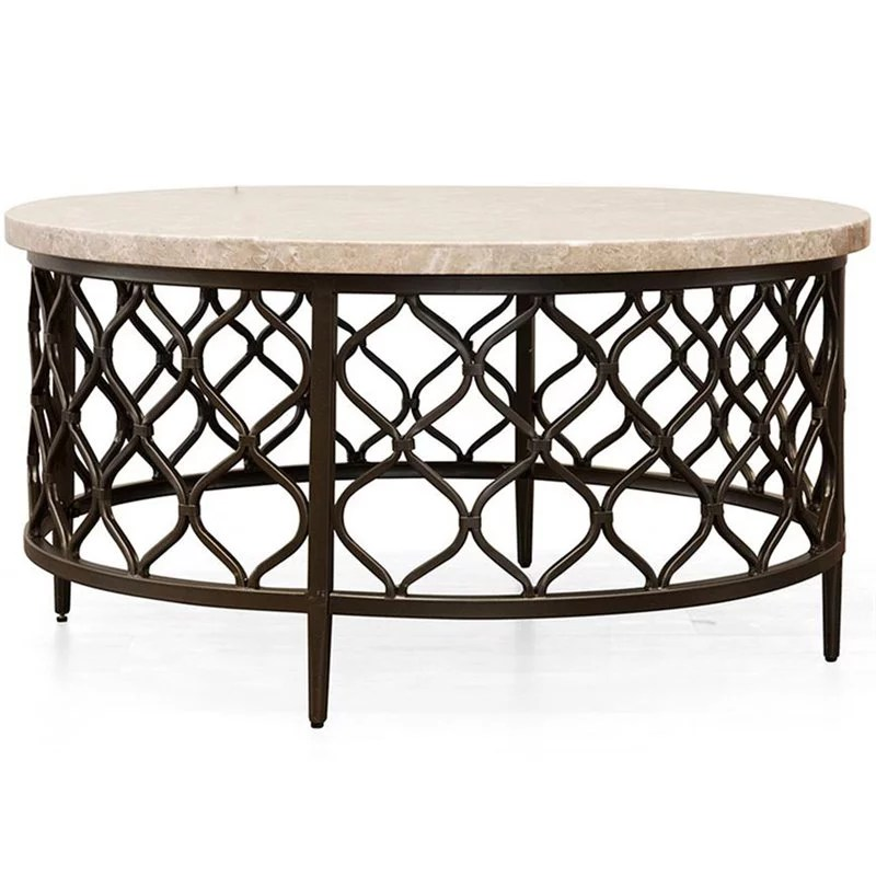 roland round white stone top with bronze metal base coffee table walmart com