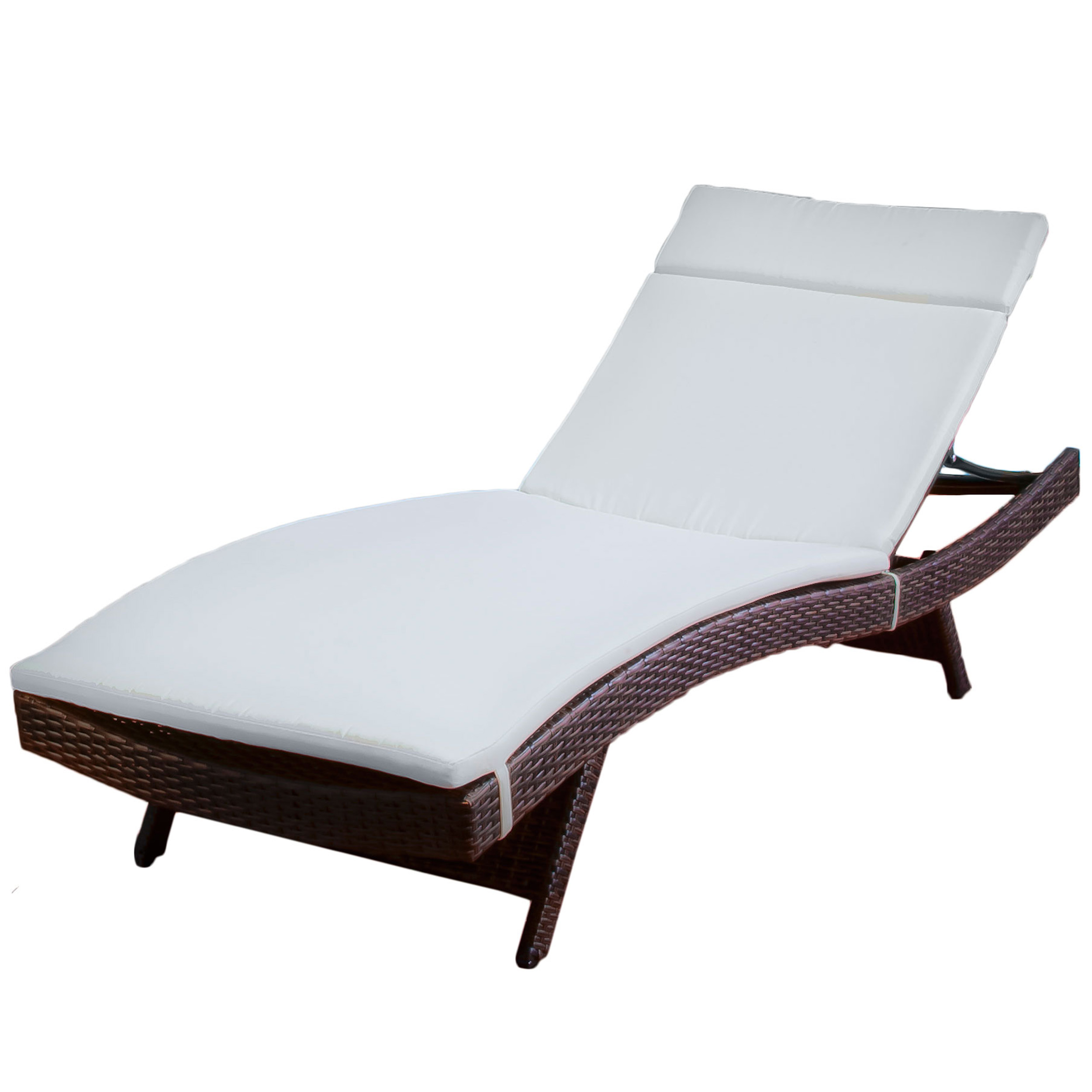 Wicker Recliners Outdoor Brown Wicker Adjustable Chaise Lounge with Beige Cushion