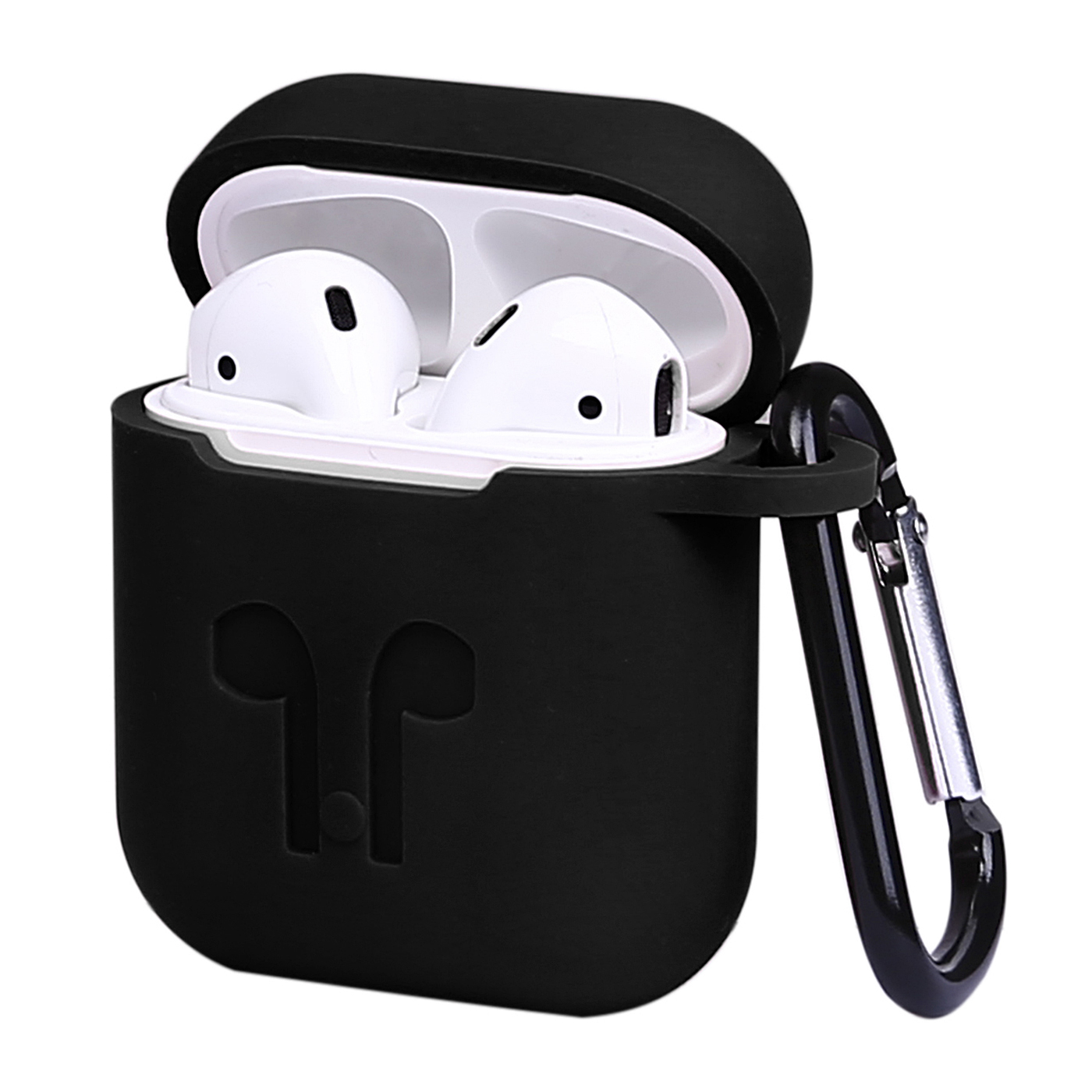 hde airpods case protective silicone cover and skin for apple airpods charging case with carabiner keychain belt clip red