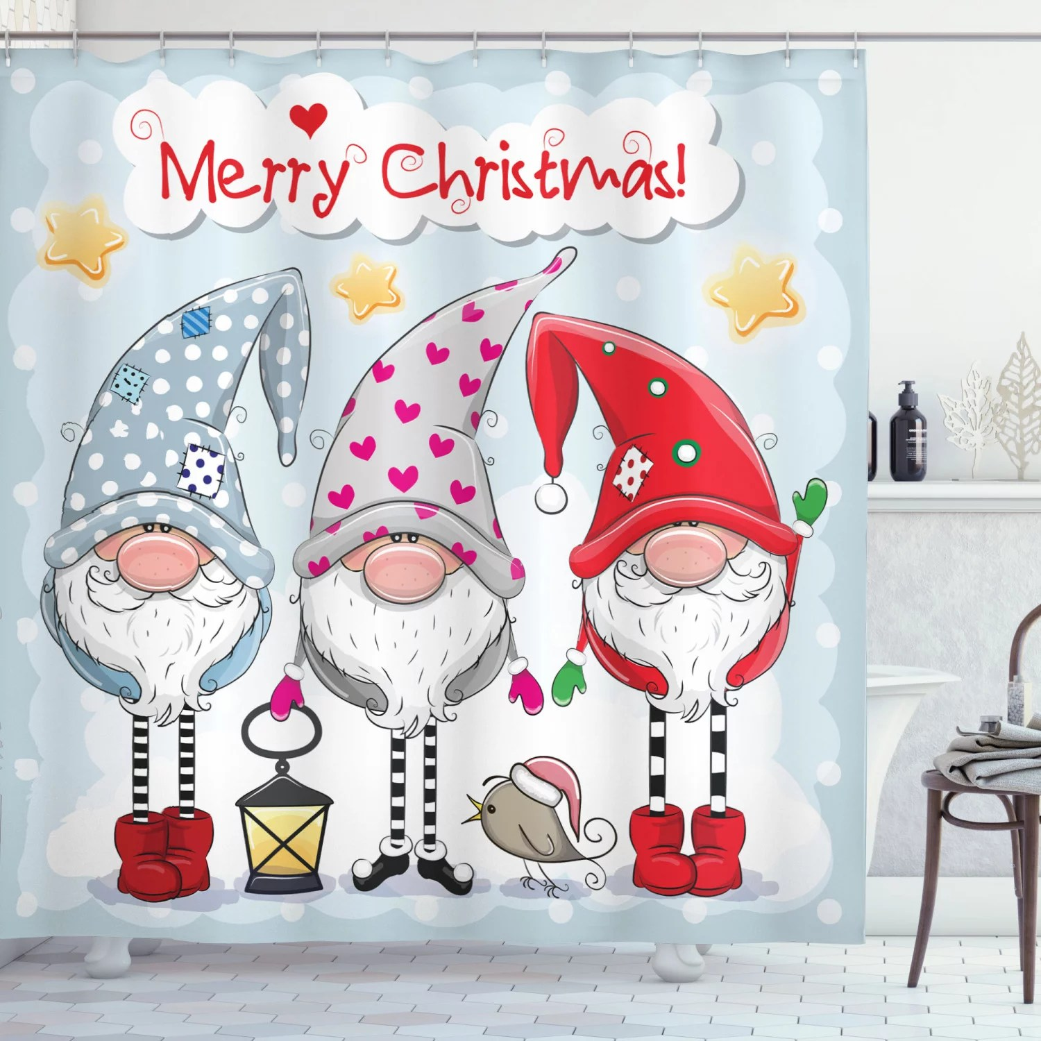 christmas shower curtain cartoon gnomes with funny noses stars and tiny bird xmas composition fabric bathroom set with hooks pale blue multicolor