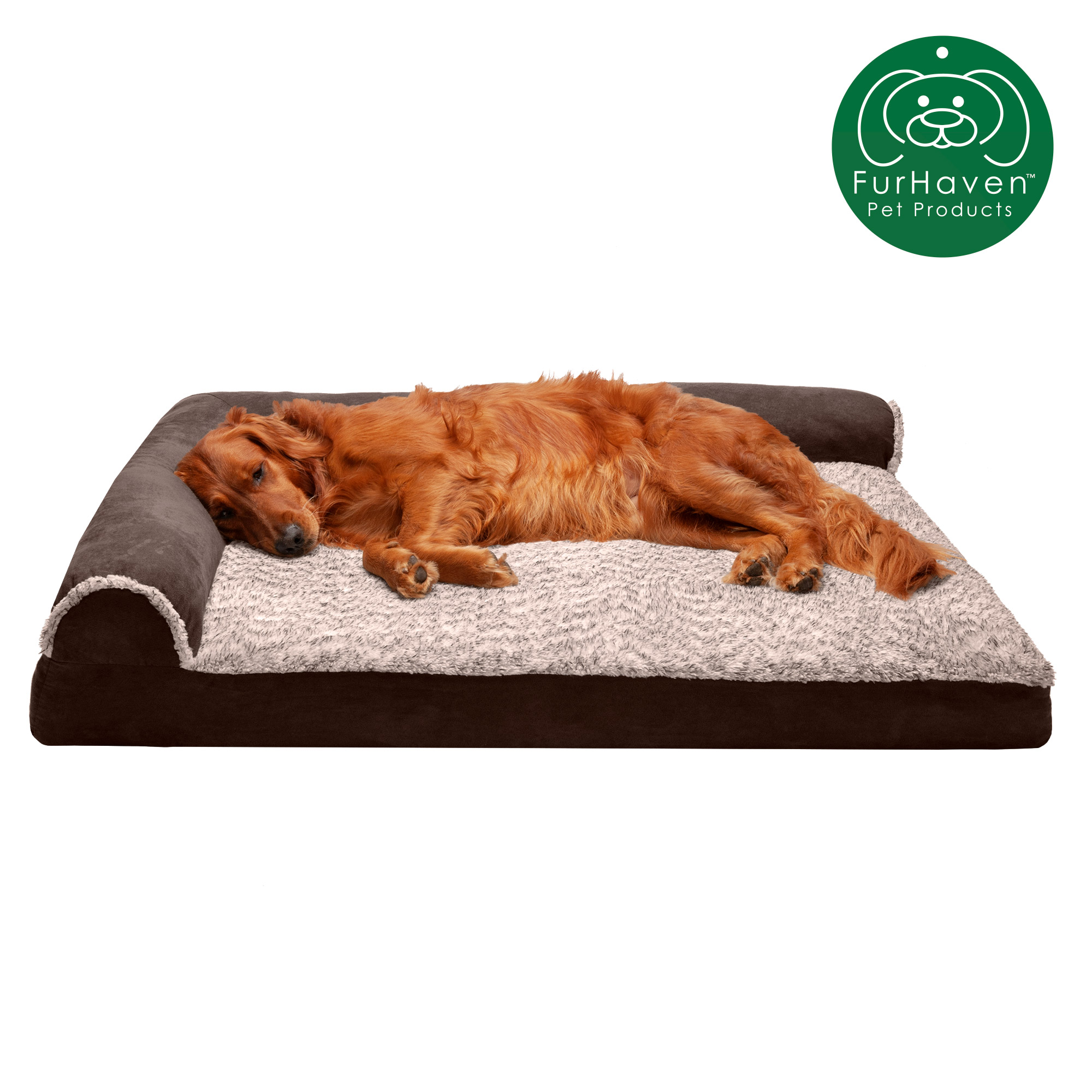 furhaven pet dog bed deluxe memory foam chaise faux fur suede l shaped lounge sofa pet bed for dogs cats espresso jumbo walmart com