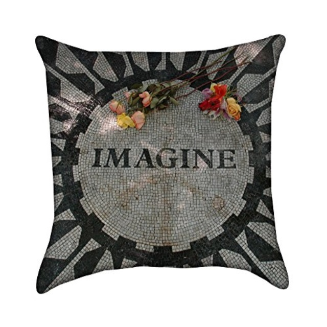 beatles imagine mosaic throw pillow cover