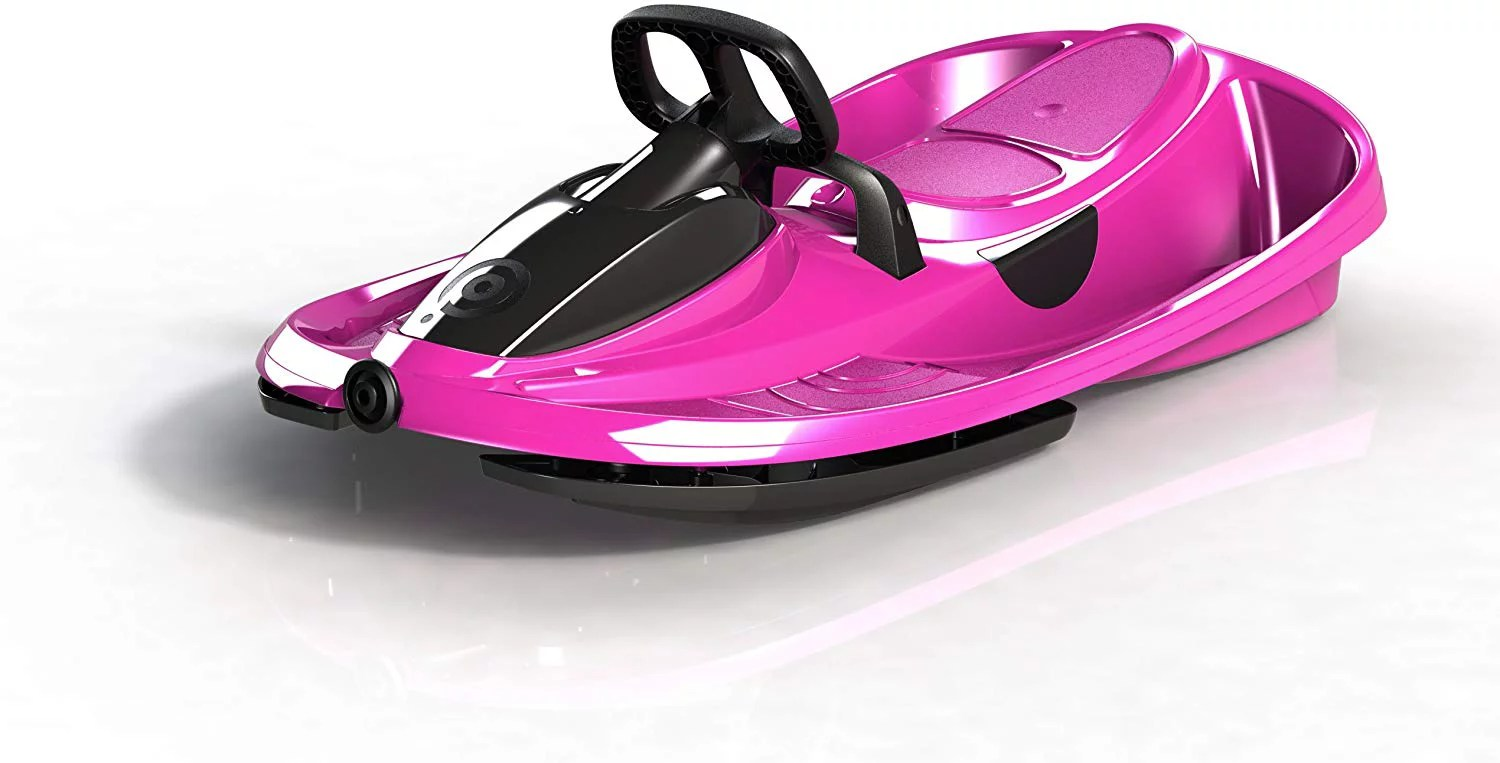 gizmo riders stratos snow sled for kids 2 person racing style bobsled with steering wheel corrosion free plastic with snap together assembly holds