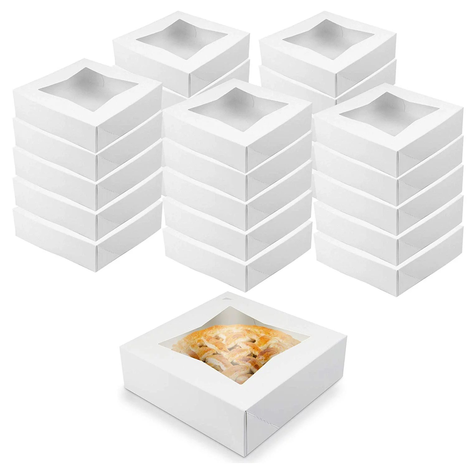 O'Creme White Bakery Boxes with Window 8x8x2.5 in, 25 Pack, Display Pies, Pastries, Cupcakes and Cookies | Paperboard White Kraft Auto-Popup Window Cake Boxes, Pie Pastry Container Carrier - Walmart.com - Walmart.com