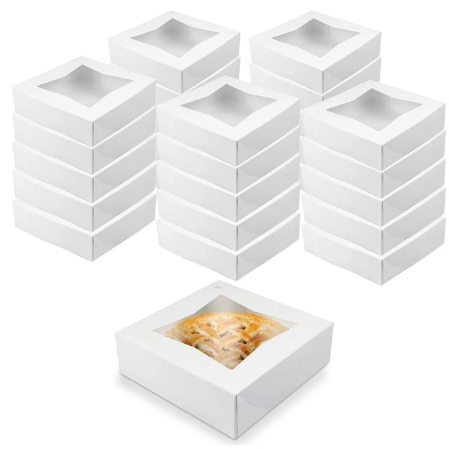 O'Creme White Bakery Boxes with Window 8x8x2.5 in, 25 Pack, Display Pies, Pastries, Cupcakes and Cookies   Paperboard White Kraft Auto-Popup Window Cake Boxes, Pie Pastry Container Carrier - Walmart.com - Walmart.com