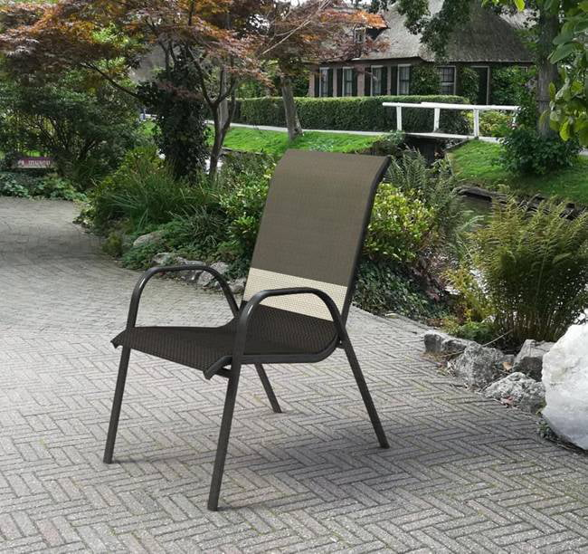 mainstays heritage park patio stacking sling chair black stripes