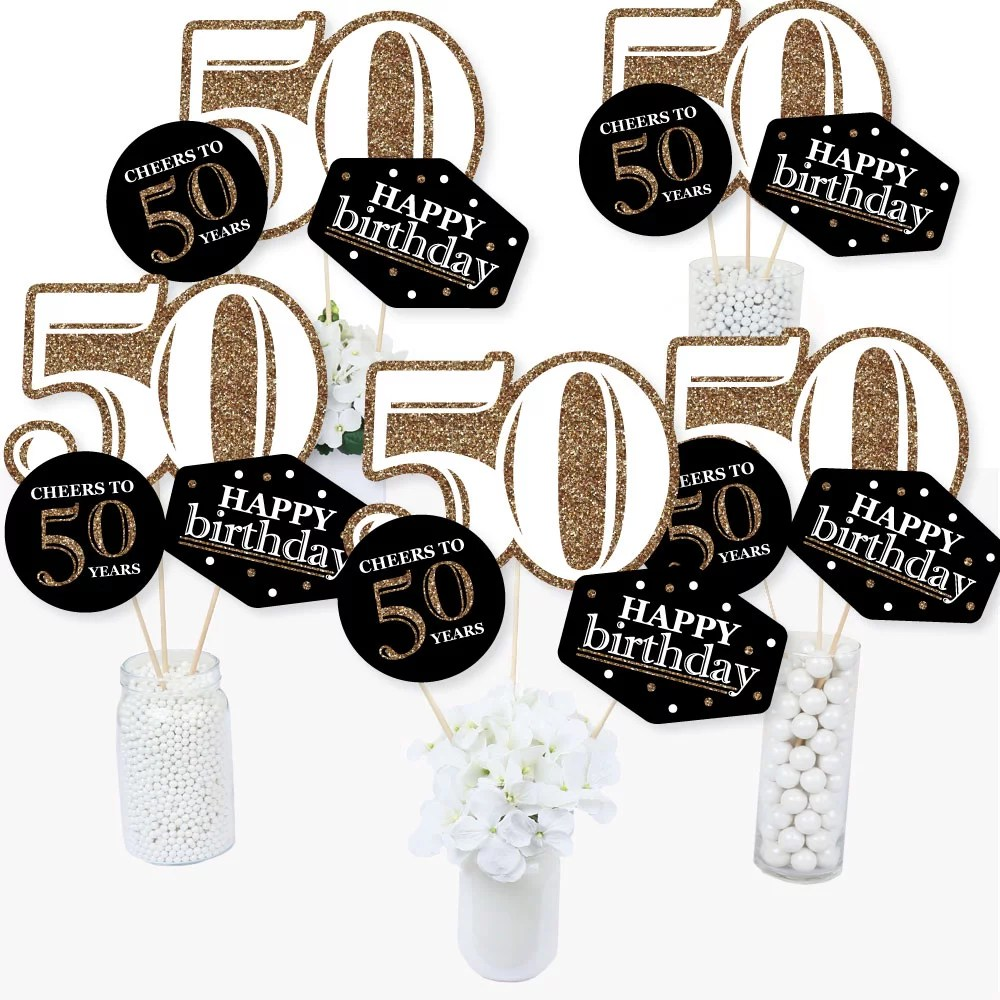 Adult 50th Birthday Gold Birthday Party Centerpiece Sticks Table Toppers Set Of 15 Walmart Com Walmart Com