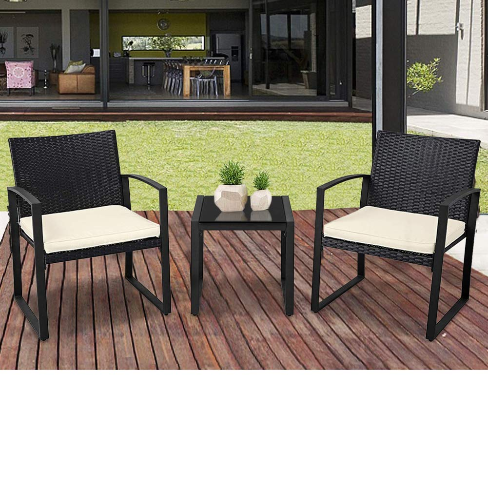 suncrown outdoor furniture 3 piece patio bistro set black wicker chairs and glass top coffee table beige white cushion
