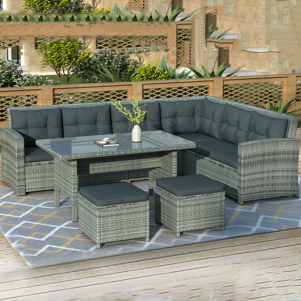 patio sectional sofa set 6 piece outdoor patio furniture set patio set with 3 loveseats 2 ottomans dinner table patio conversation set for
