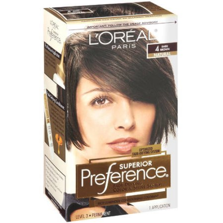 l oreal paris superior preference fade defying color shine hair color 4 dark brown 1 kit