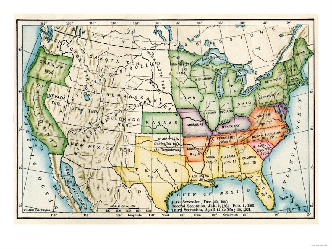 U S Map Showing Seceeding States By Date American Civil