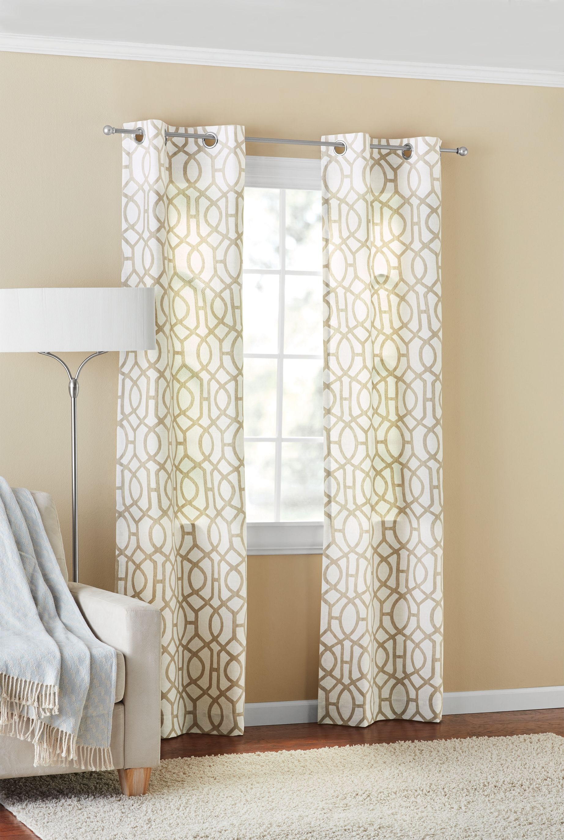 mainstays fretwork window curtain panel pair 60 x 84 brown