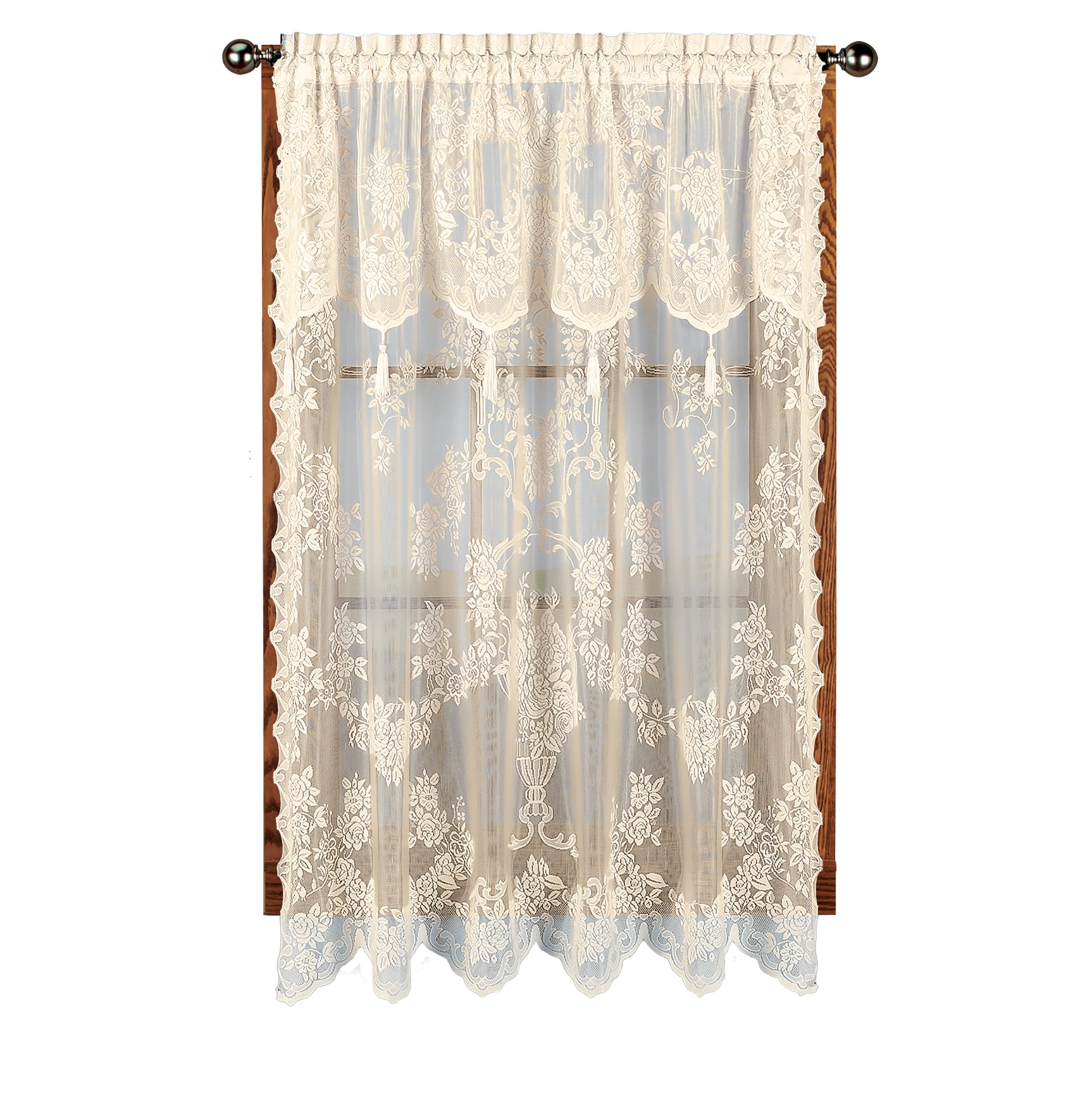 carly lace curtain panel with attached valance with tassels 63 long ecru bone