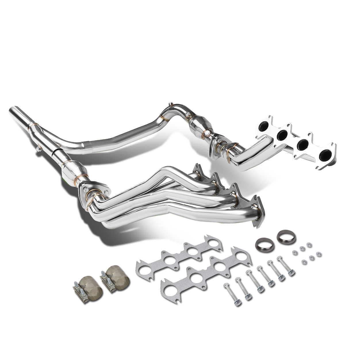 for 2004 to 2010 ford f150 5 4l v8 4wd long tube 4 2 1 exhaust header manifolds gaskets y pipe 05 06 07 08 09 walmart com