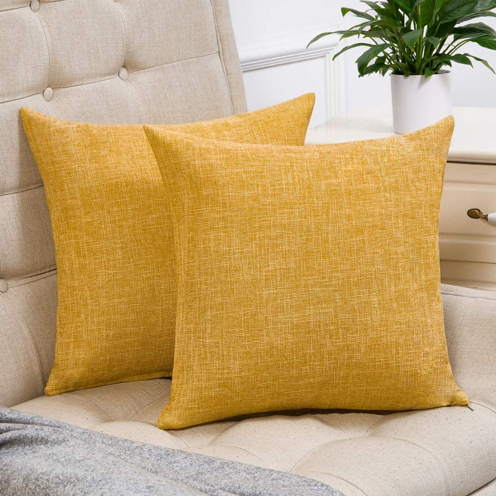 decorxset of 2 mustard yellow pillow covers cotton linen decorative square throw pillow covers 24x24 inch for sofa couch home farmhouse decoration