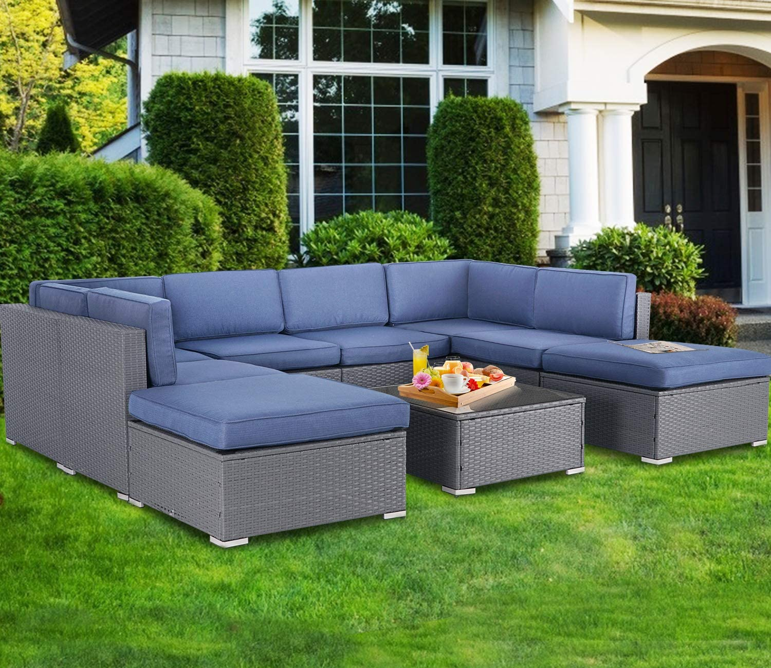 suncrown outdoor furniture 9 piece patio sofa modular sectional gray wicker conversation set with ottoman coffee table navy blue