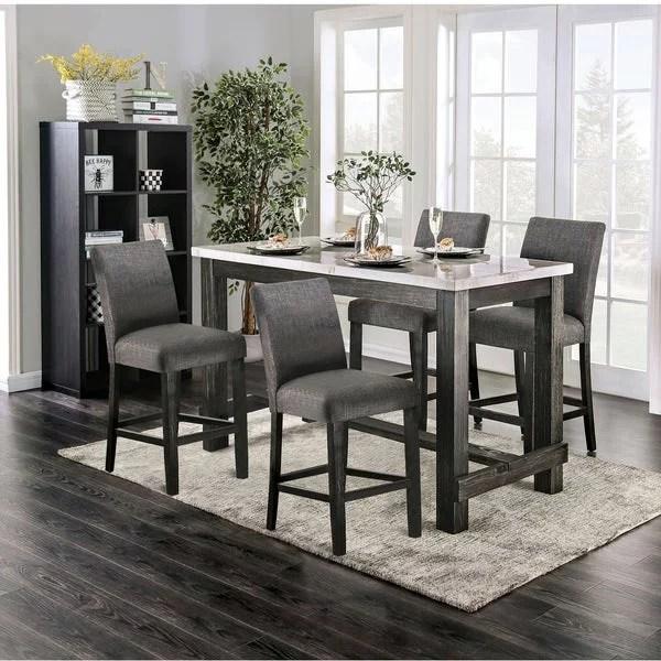 Furniture Of America Alluna 5 Piece Counter Height Dining Set Ivory Walmart Com Walmart Com