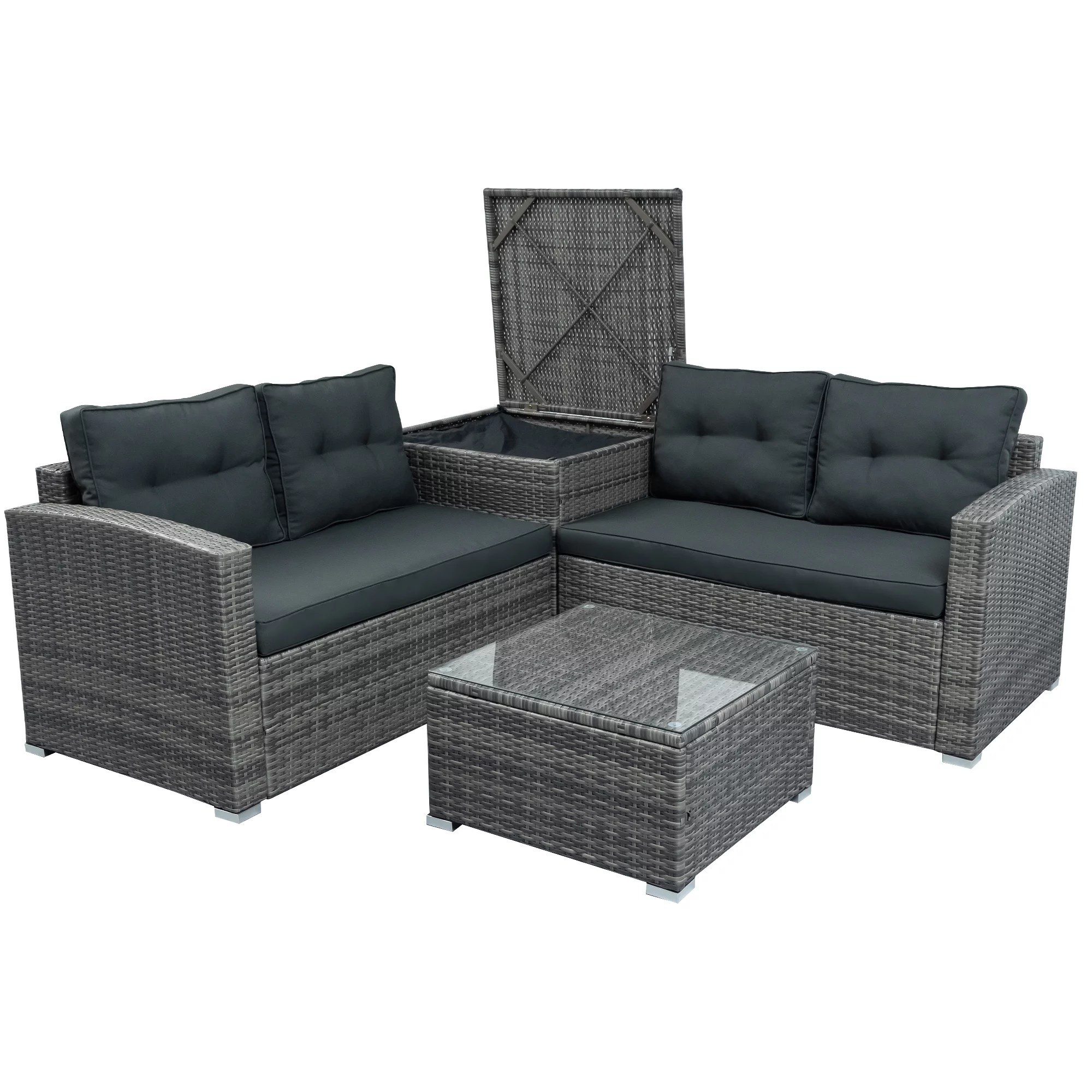 bistro outdoor wicker patio setsfor outdoor furniture 2020 upgrade 4 piece conversation furniture set w seat cushions tempered glass coffee wicker