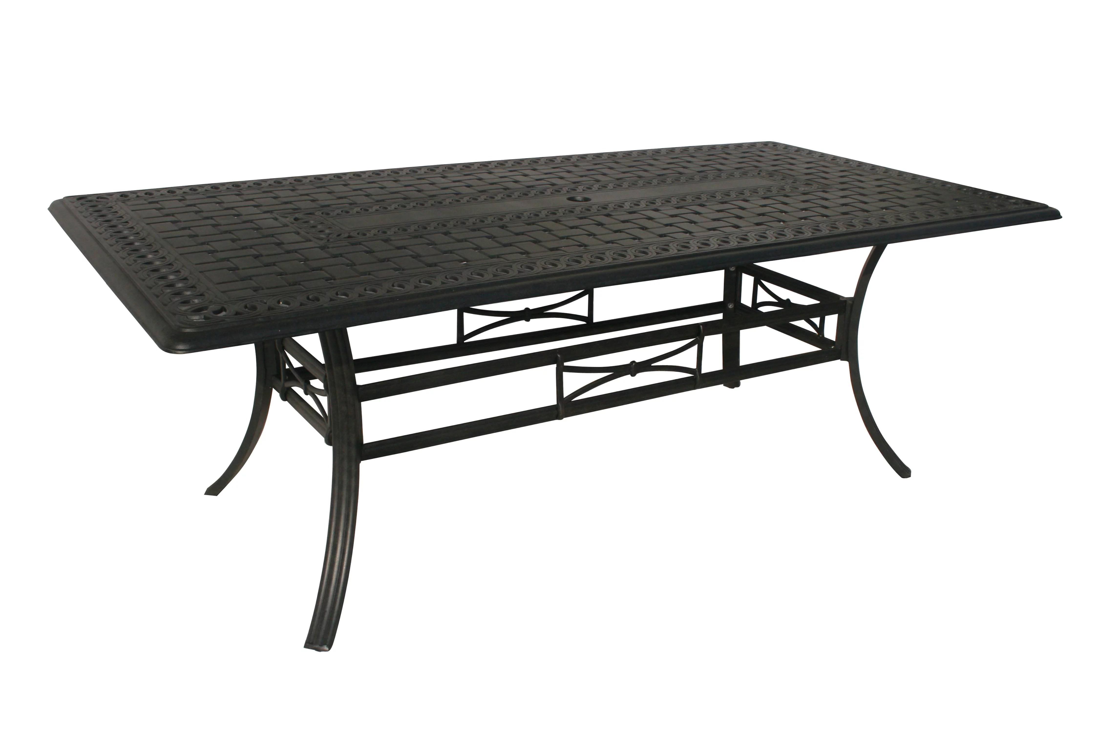 84 jet black rectangular aluminum outdoor patio dining table w umbrella hole