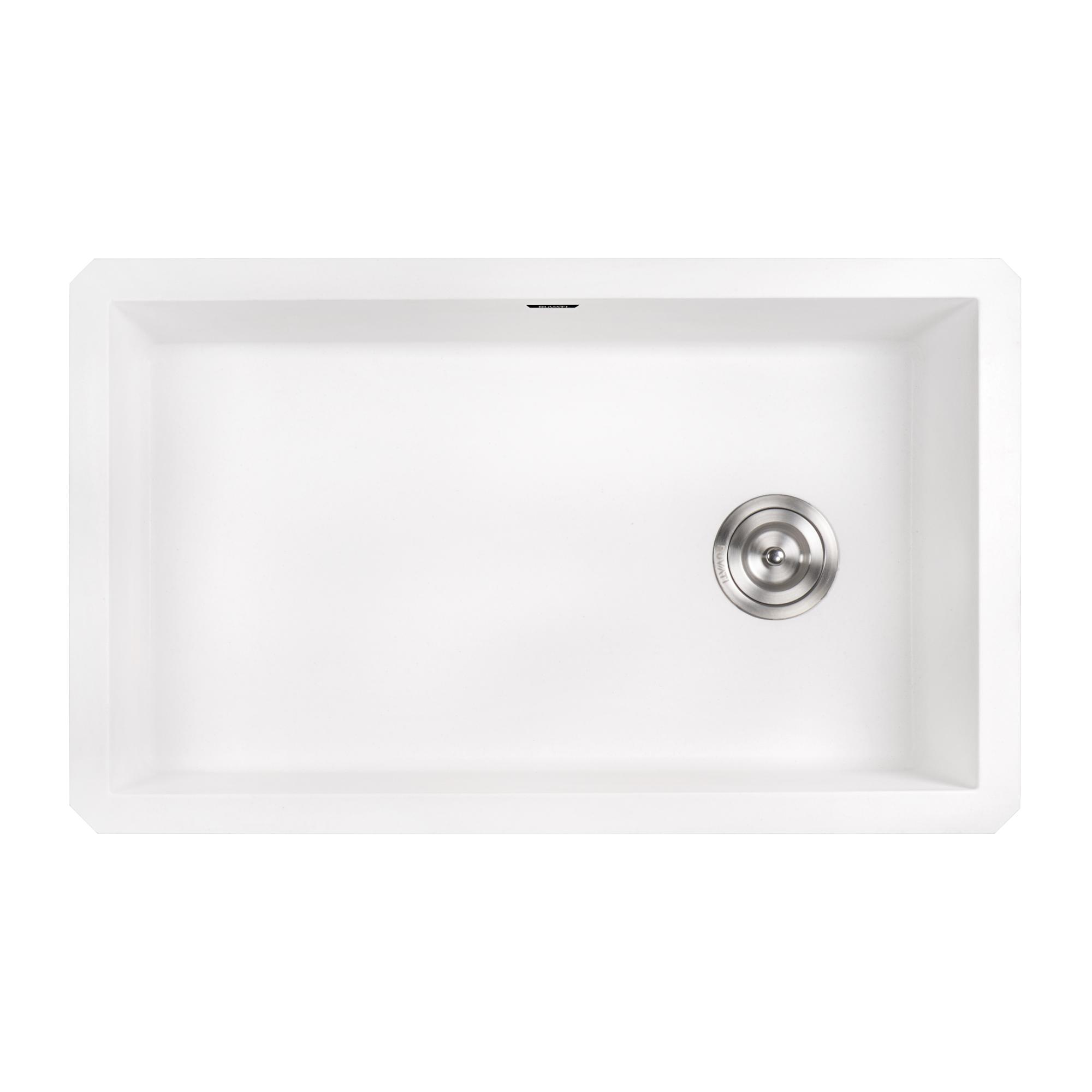 ruvati 31 x 19 inch epigranite undermount granite composite single bowl kitchen sink arctic white rvg2033wh