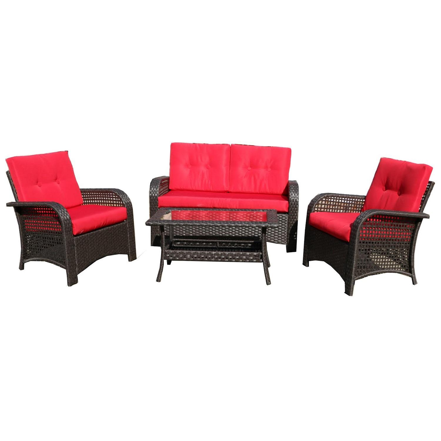 4 piece brown resin wicker outdoor patio furniture set red cushions