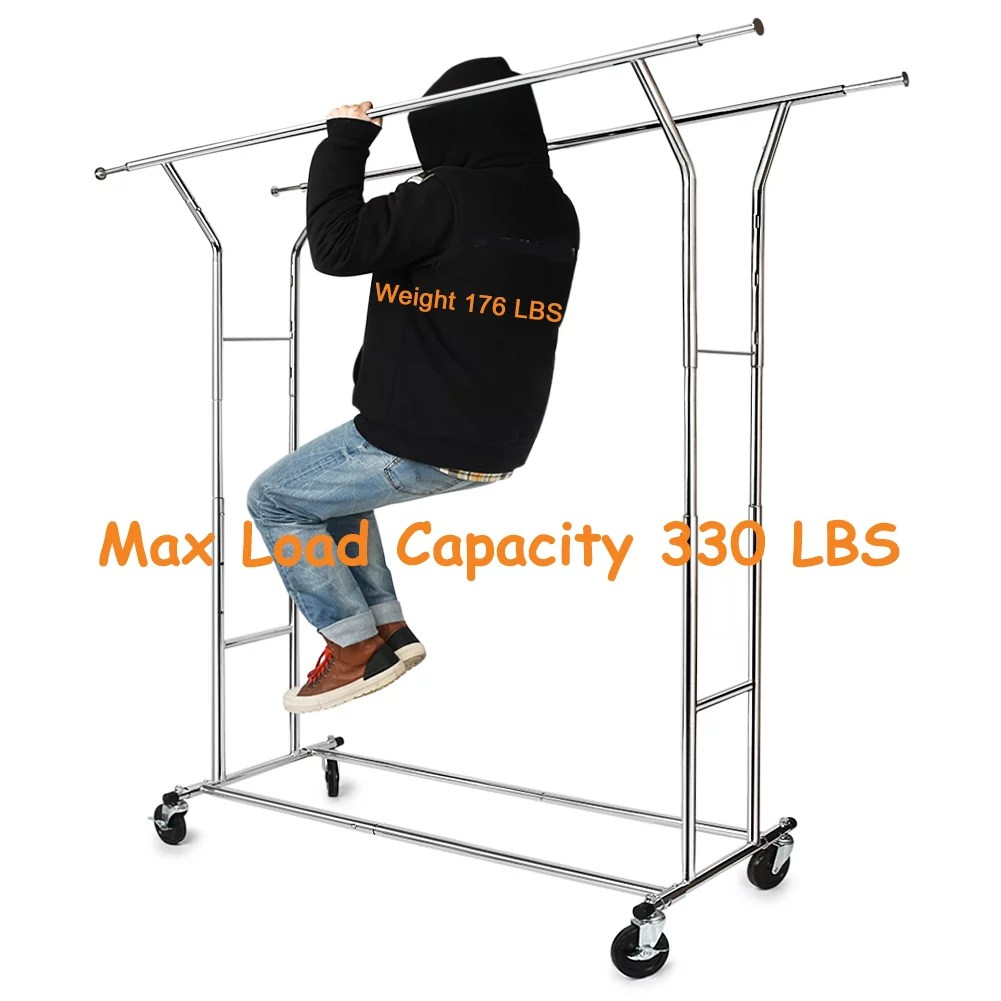 330 lbs commercial clothing garment rack heavy duty rolling clothes rack on wheels double adjustable collapsible chrome finish