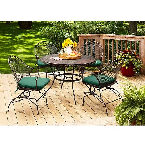 better homes and gardens clayton court patio dining set wrought iron cushioned 5 piece green
