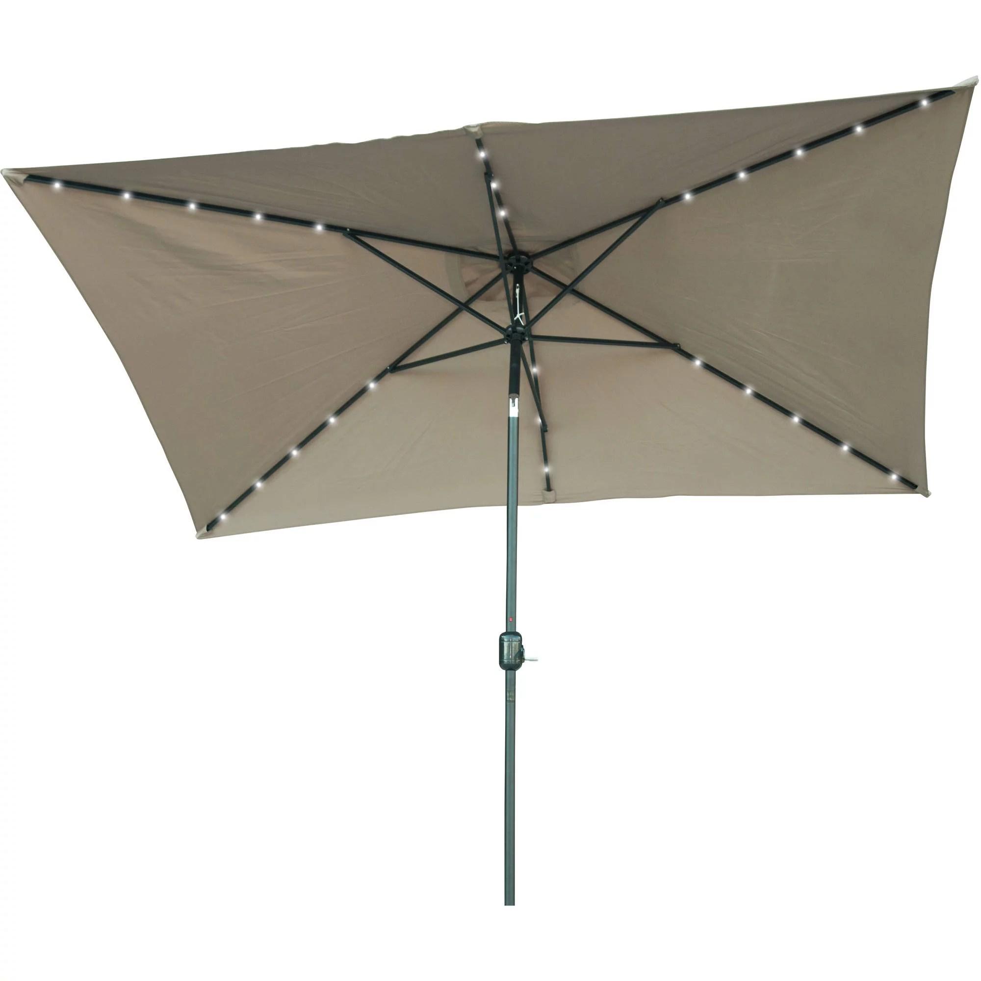 rectangular solar powered led lighted patio umbrella 10 x 6 5 by trademark innovations tan walmart com