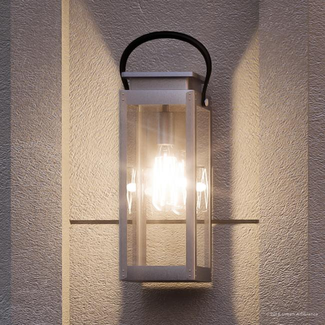 urban ambiance luxury coastal outdoor wall light size 19 3 8 h x 7 7 8 w with farmhouse style elements stainless steel finish and clear flat