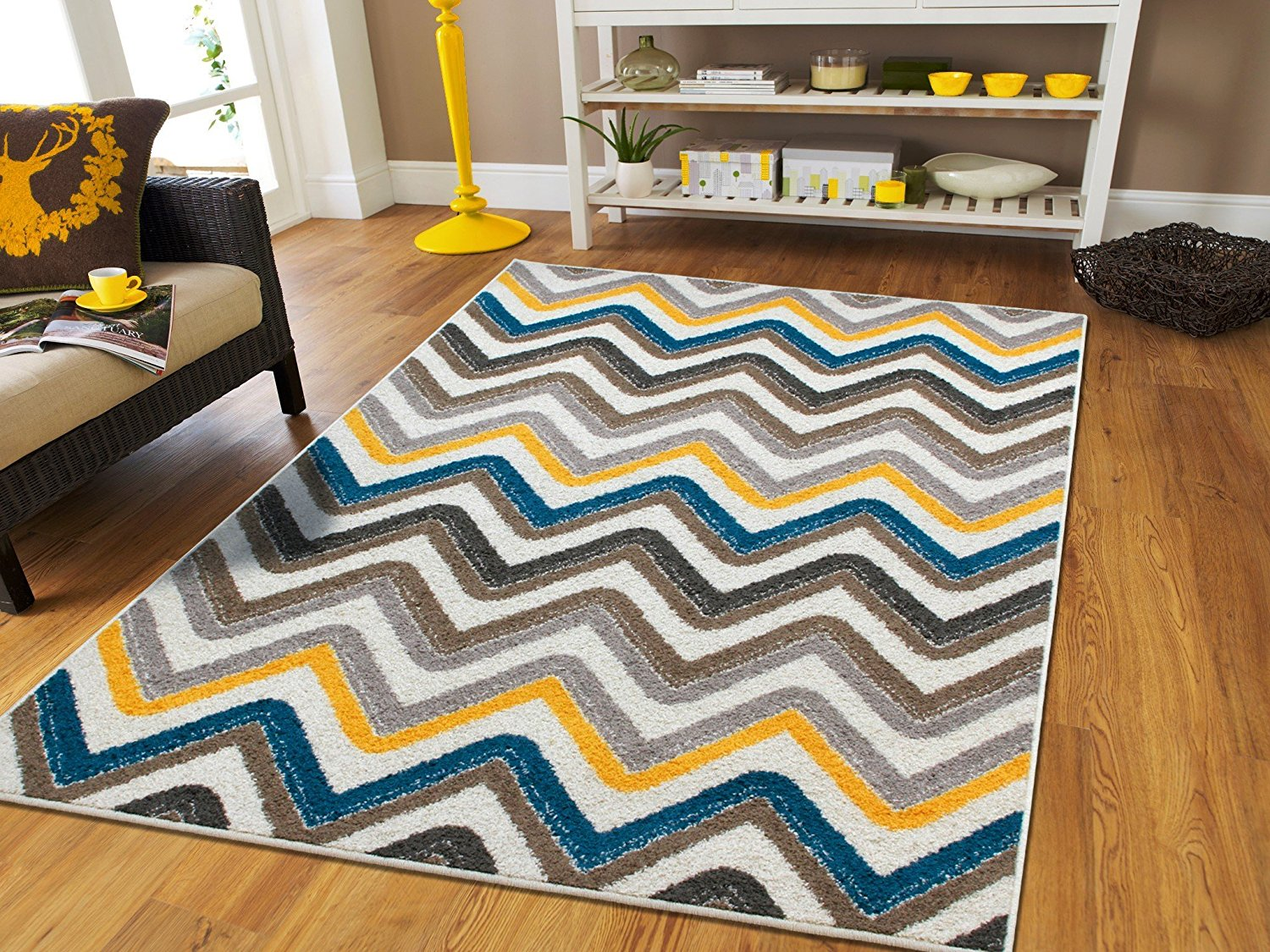 Large 8x11 Rugs For Living Room Zigzag Blue Brown Cream Yellow Grey 8x10 Area Rugs Under 100 Walmart Com