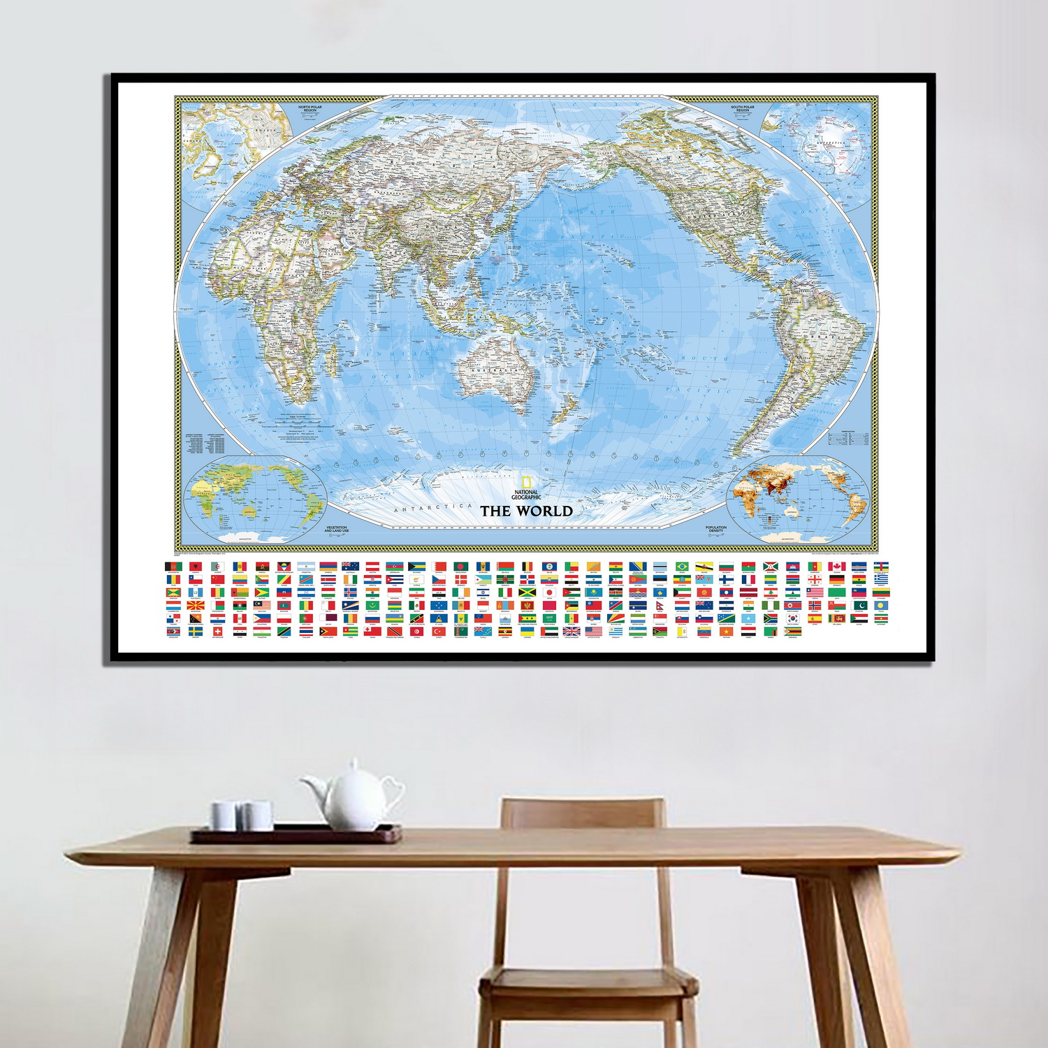 59 X 39 World Political Pacific Centered Wall Map Poster