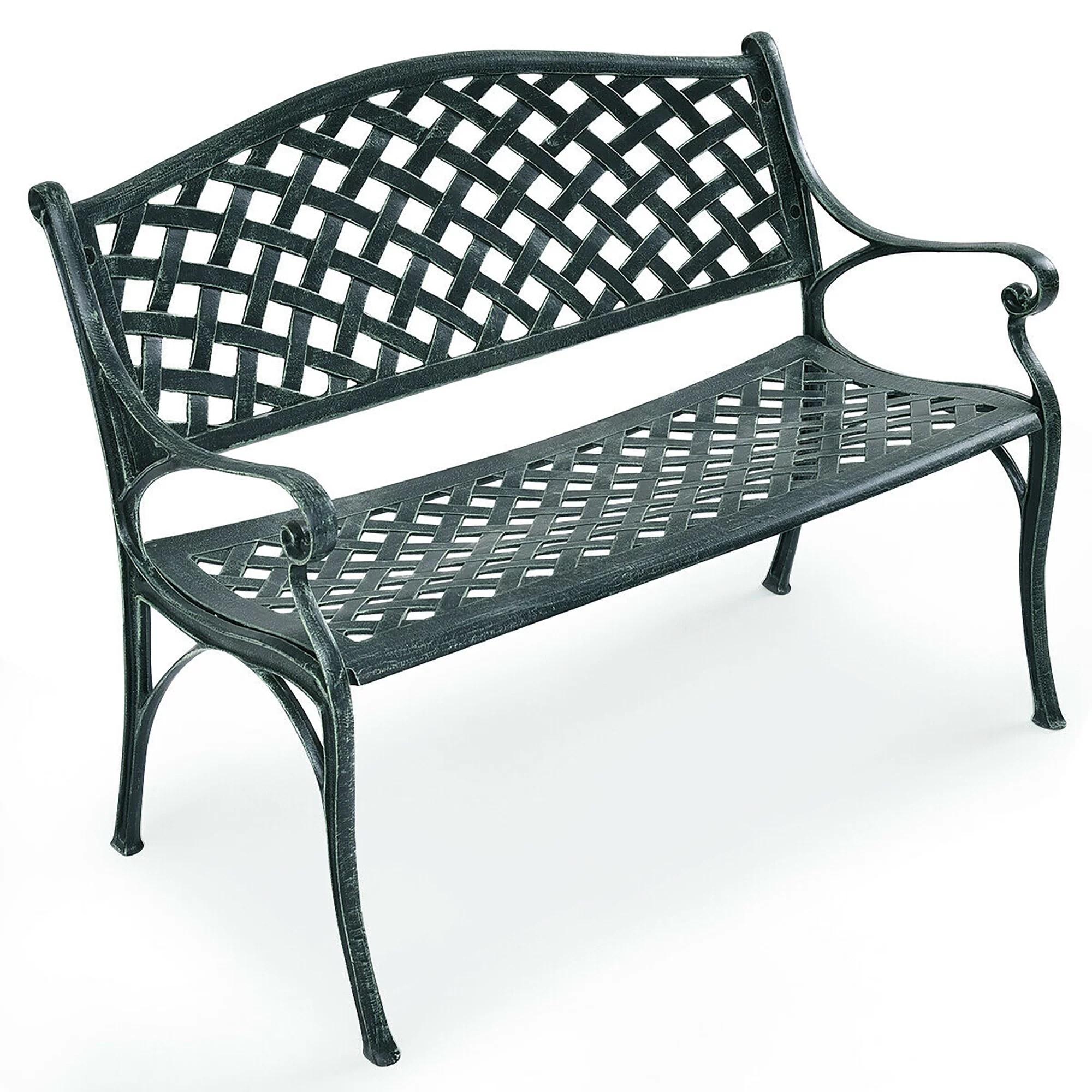 costway 40 outdoor antique garden bench aluminum frame seats chair patio garden furni walmart com