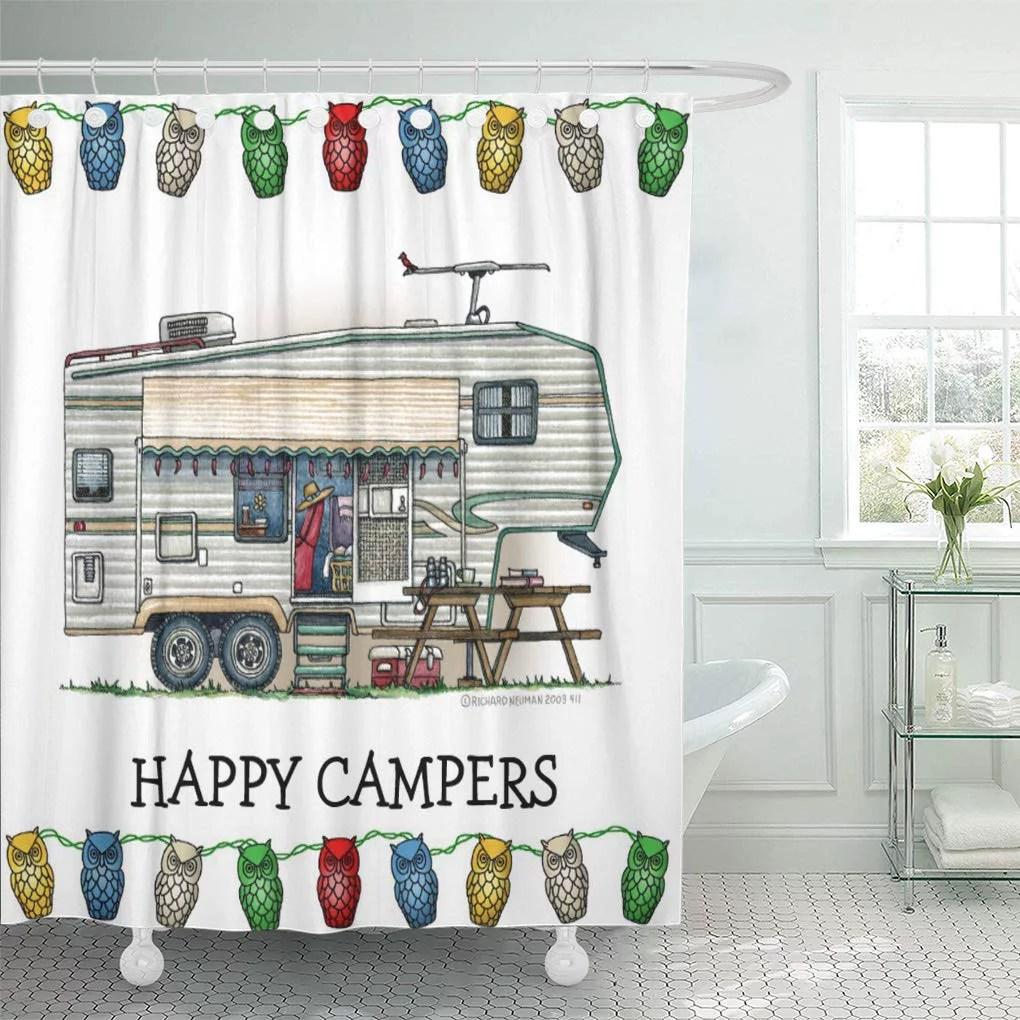cynlon camping rv vintage fifth wheel camper travel trailer rally bathroom decor bath shower curtain 60x72 inch walmart com