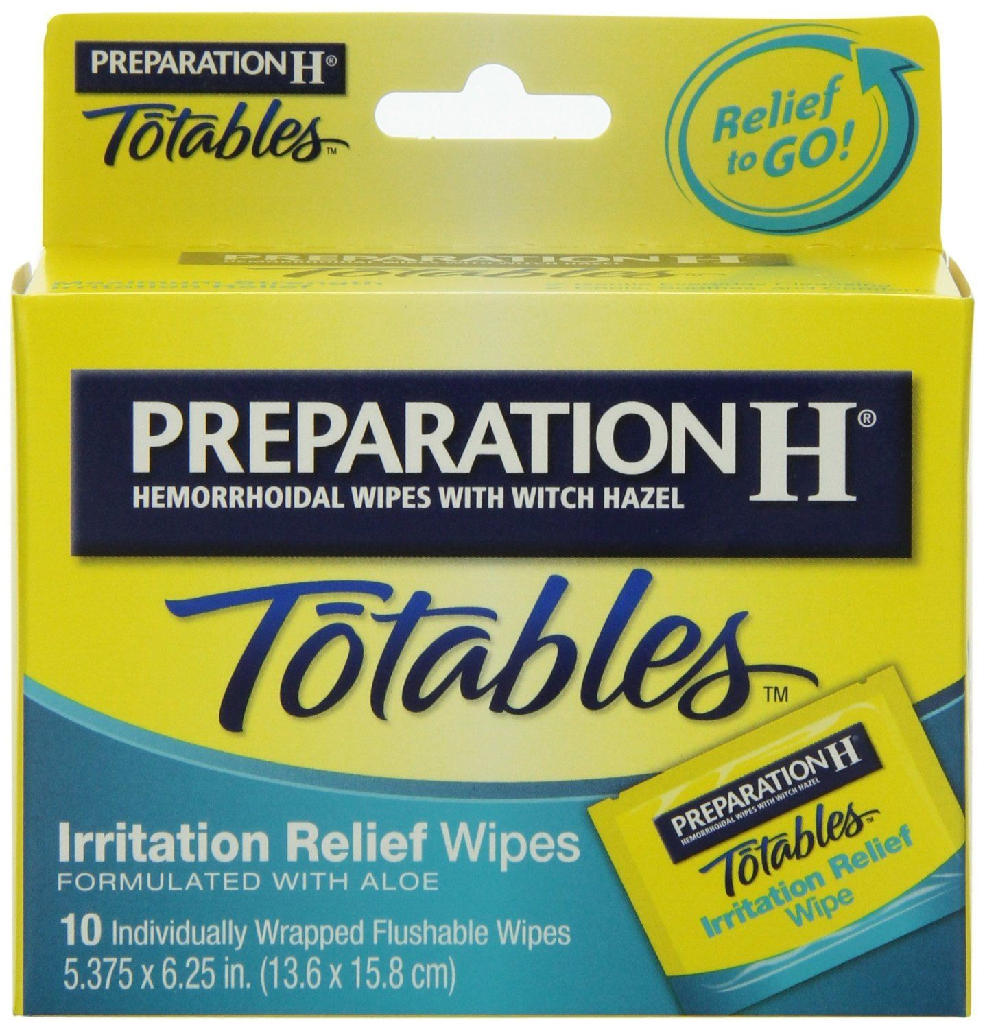 6 Pack Preparation H Totables Irritation Relief Wipes 10 Each