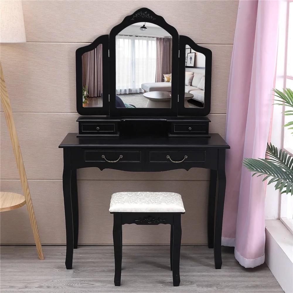ktaxon trifold mirrors makeup vanity table set vanity beauty station w cushioned stool 4 drawer mirror wood desk black
