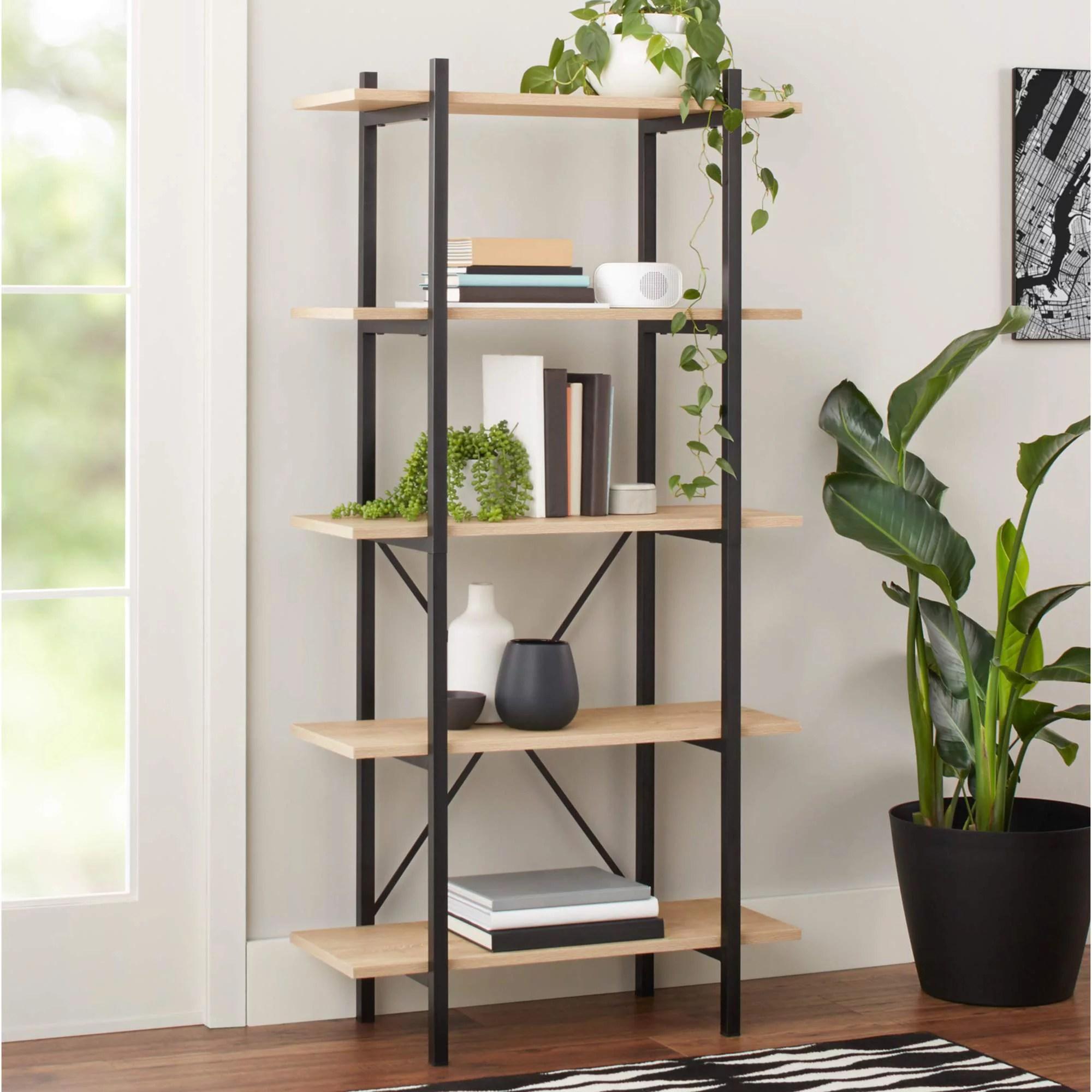 mainstays 63 conrad 5 shelf bookcase black