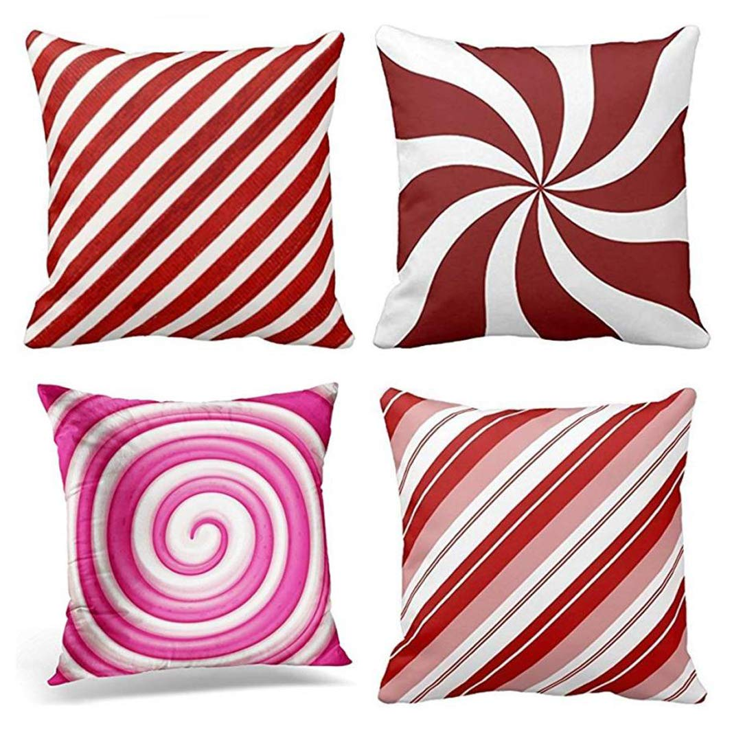 rylablue set of 4 pillow cases stripe pattern peppermint candy swirl white generic christmas candycane red throw pillowcase cover cushion case home