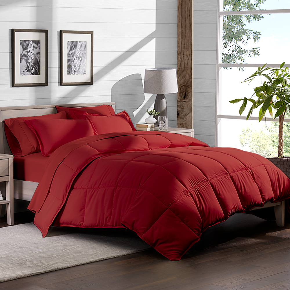 7 piece bed in a bag california king comforter set red sheet set red