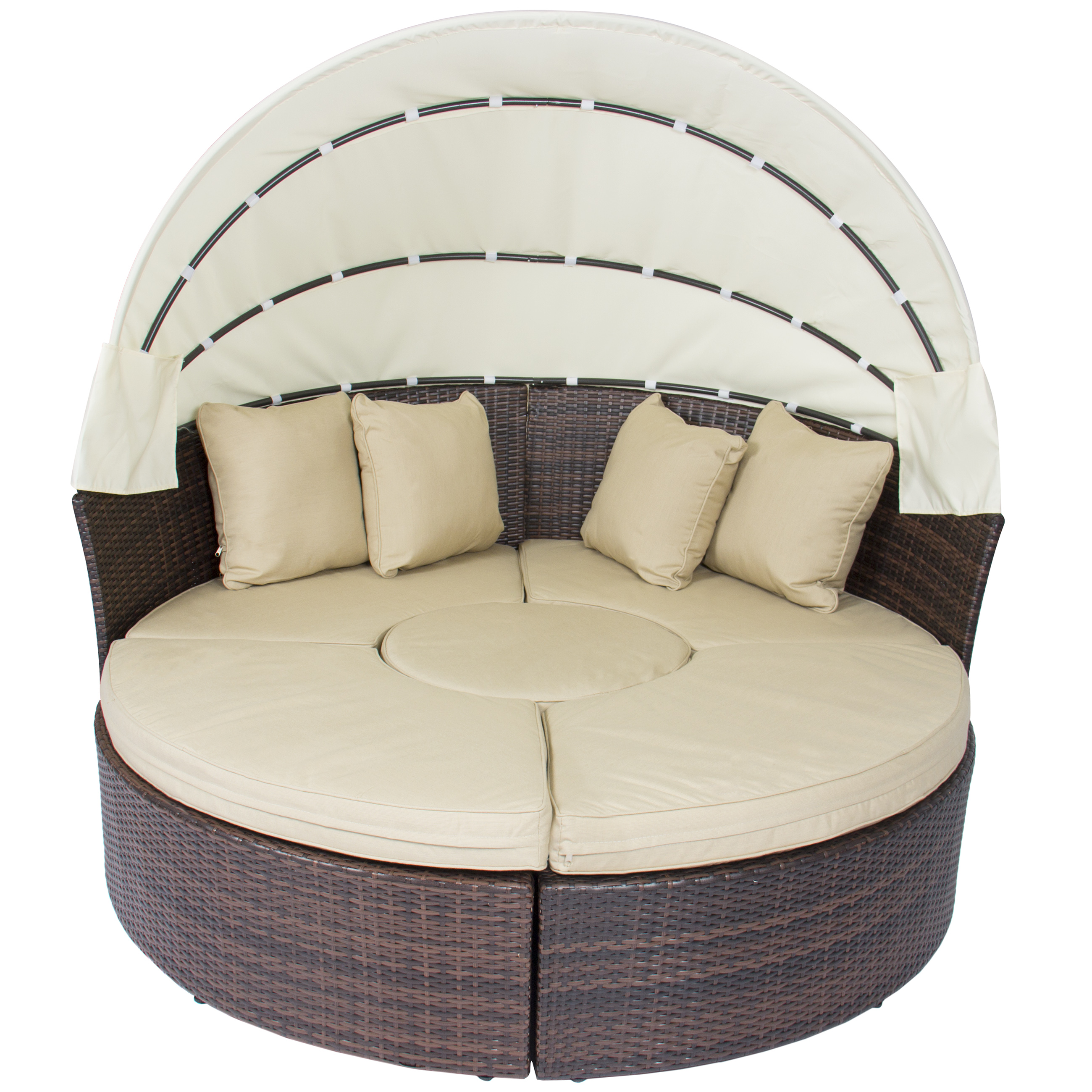 Outdoor Patio Sofa Furniture Round Retractable Canopy Daybed Brown     Outdoor Patio Sofa Furniture Round Retractable Canopy Daybed Brown Wicker  Rattan   Walmart com